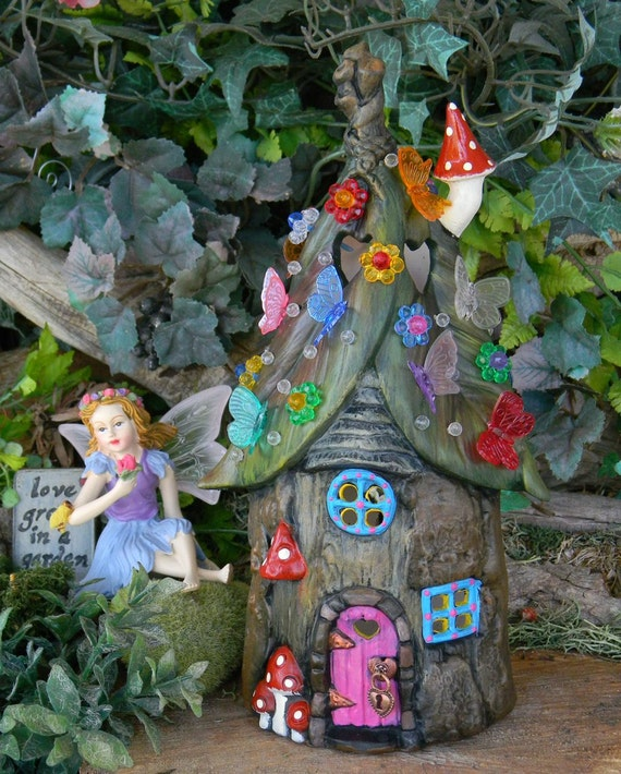 Fairy House Tree Stump Leaf Roof Dream By Enchantdmushroomland