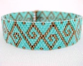 Peyote Pattern - Swirls - INSTANT DOWNLOAD PDF - Peyote Stitch Bracelet Pattern - One Drop Even Peyote / Geoemtric Pattern