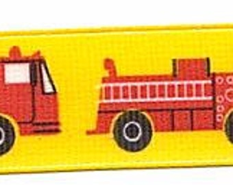 "7/8"" Grosgrain FIRE TRUCK Ribbon"