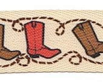 """7/8"""" Cowboy Ribbon  Cowgirl Ribbon Cowboy BOOTs Ribbon Cowboy Sewing, Rodeo Ribbon, Horse Ribbon, Farm"""