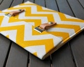 iPad Air 2 Case / iPad Cover / Padded iPad Case / iPad 4 Case with Leather Strap - Chevron Yellow Natural