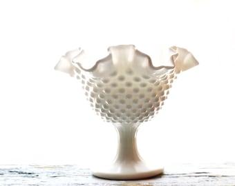 Milk Glass Hobnail Ruffle Edge White Dish - Wedding- Decor- Fresh -Spring Tableware