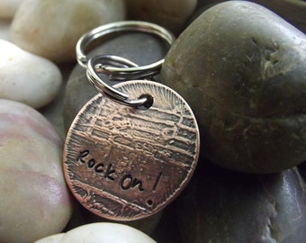 SALE, Rock On Keychain, etched with a music sheet underneath  Ready to ship