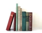 Vintage book Shabby Chic collection of 8 childrens books and reference, vestiesteam , faded green, burgundy, taupe and beige