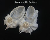 Baby Girl Crib Shoes Ribbon Rosettes with Peals and Crystals for Photo Prop Baptism Christening Now Available in White