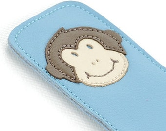 Leather Bookmark with Monkey Design, Blue