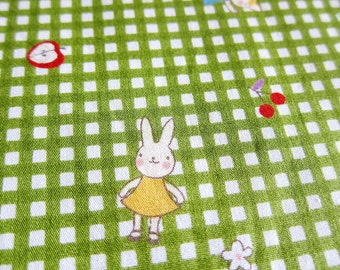 FREE SHIPPING Rabbits & Cats Fabric in Gingham Green - Animal Cotton Fabric (F064) Fat Quarter