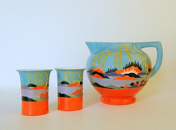 RESERVED for P****E** ~ Rare Japanese Kinkozan Cannonball Pitcher w/ Matching Tumblers: Surreal Orange & Aqua Landscape