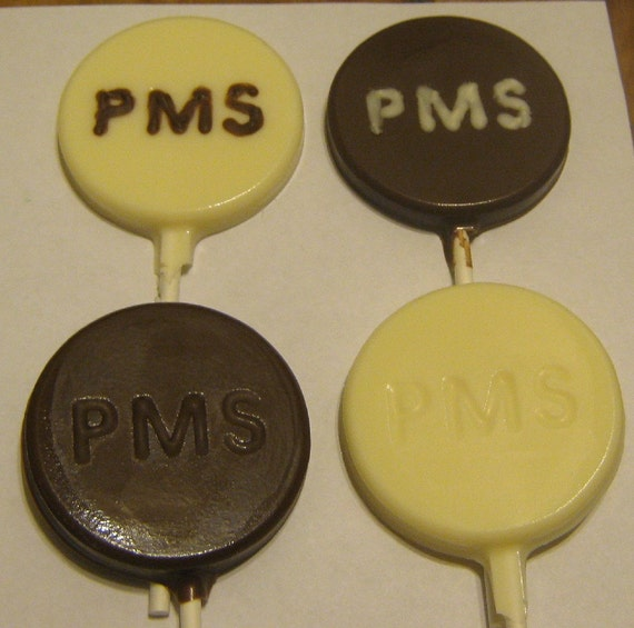 One dozen PMS pill lollipops milk, white, or dark chocolate