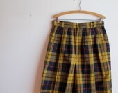 1980s Shorts Vintage Wool Plaid Giorgio Sant Angelo Skirt