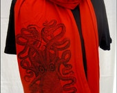 Red Octopus Jersey Scarf