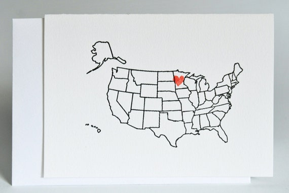 6 Custom Letterpress US MAP Note Cards for Valentine's Day Love