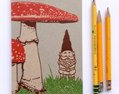 1 New Mini Woodland Gnome Journal, small blank sketch pocket book, garden gnomes, original design, all recycled paper