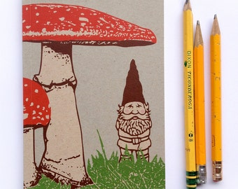 Blank Notebook, Small Journal, Artist Sketchbook, Gnome Journal, small blank sketch pocket book, Woodland garden gnomes gift, recycled paper