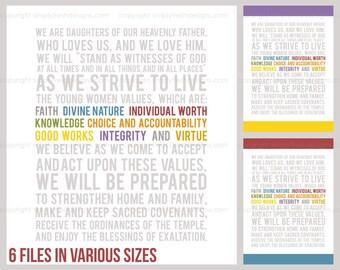 LDS YW Theme Values Colors - Subway Art - Instant Download