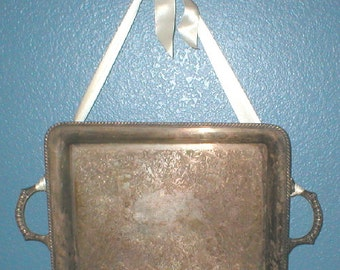 Silverplate Serving Tray Ornate Etching Tarnish