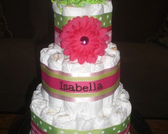 Pink and Green girl Diaper Cake Baby Shower Centerpieces Gift other sizes too