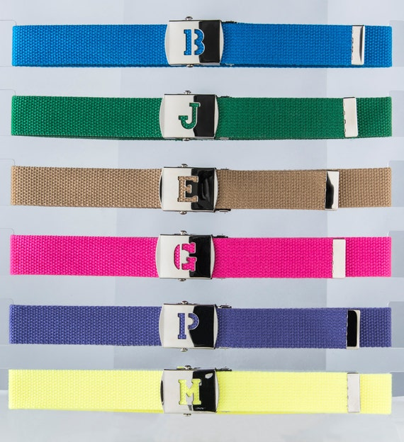 2 Kids BELTS BoYS Girls S Kids BLock Letter INITIAL belt  You Get 2 Straps per a buckle