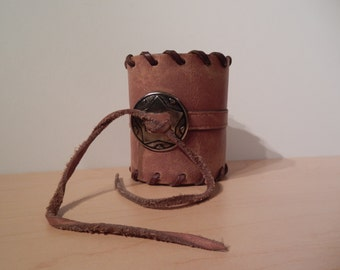 Wide Wild West - Brown Leather Concho Cuff UPCYCLED