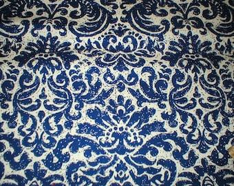 4 3/8 yards 48 wide Vintage 70s blue / white cotton damask barkcloth dressmaking fabric
