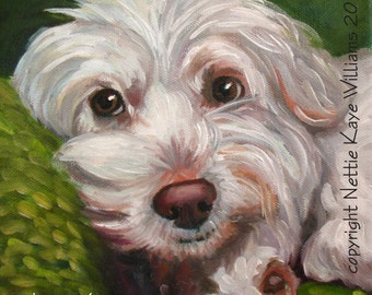 Custom pet portraits in Oil on stretched canvas