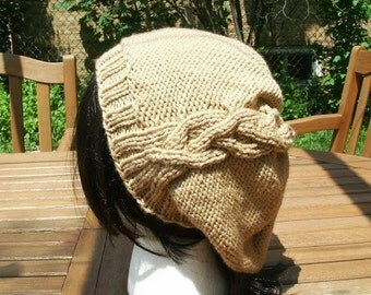 Hand Knit Hat - The Cableret in Oatmeal - Womens Fashion - Accessories