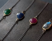 Asymmetrical Gemstone Necklace - mixed metal