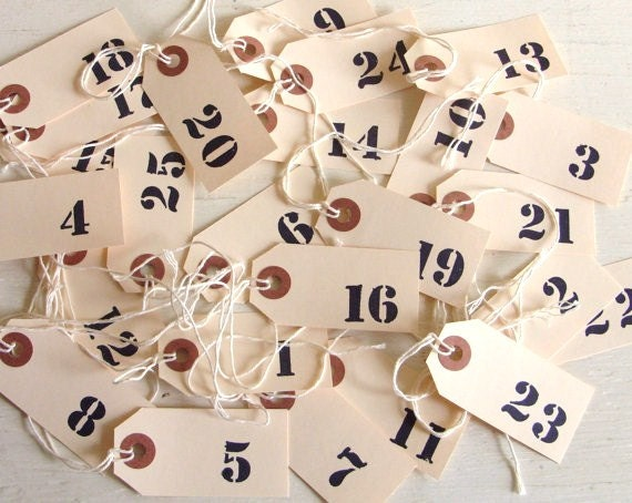 Wedding Table Numbers Numbered Favors Paper Tags 1-25 Classic - Treasury Item