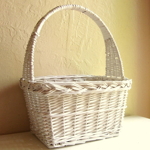 Large Classic White Wicker Basket With Tall Handle By