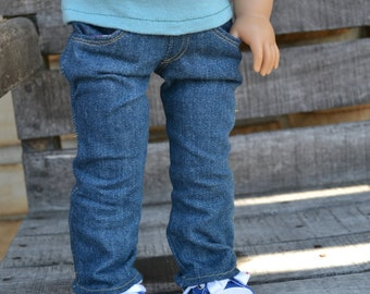 18 inch Doll Clothes - Medium Wash Straight Leg Jeans with real pockets - fit American Girl - MADE TO ORDER