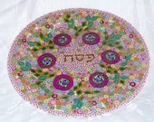 Seder - Passover Flowery- vernal Decorated Plate MADE FOR ORDER