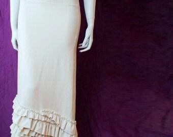 Long skirt, natural fabric skirt, white skirt, long flare skirt, a line skirt, organic cotton clothing