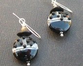 lampwork earrings bumpy bead silvered ivory and black beads- sophisticat