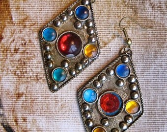 BEJEWELED DANGLE EARRINGS,  vintage jewel pierced earrings, costume jewelry, dangle earrings, drop earrings, ethnic earrings, gift for her