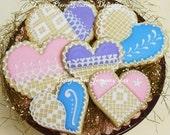Crochet Pastel Hearts - Valentine's Day Cookies - 6 cookies