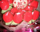 Rosebud Valentine's Day Cookie Bouquet - 13 Cookies