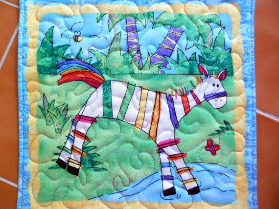 Zebra - Jungle Buzz by Cheri L. Stole Snack Mat Coaster - bright and fun - oversized coaster - mini placemat Number 451