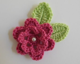 Crocheted Flower with Leaves - Pink and Green - Acrylic Yarn - Crocheted Flower Applique