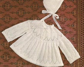 """PDF Knitting Pattern Knitted Baby Matinee Coat and Bonnet sizes 17-19"""" (Z39)"""