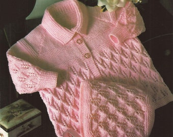 """PDF Vintage Knitting Pattern Baby Angel/Matinee Coat and Bonnet  18 and 20"""" (Q60)"""