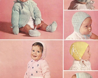 PDF Knitting Pattern Vintage Pram Set for Boy and Girl 4 patterned bonnets (D271)