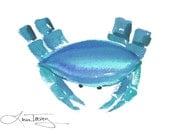 Nautical Crab Watercolor Print