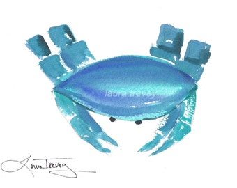 Nautical Crab Watercolor Print