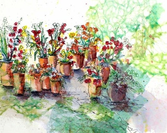Spring Garden Watercolor Print