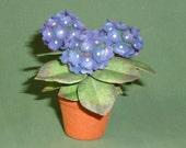 dollhouse scale hydrangea plant (blue)