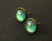 Green Blue Mystic Color Shift Post Earrings Antique Brass Hypoallergenic Steel Studs