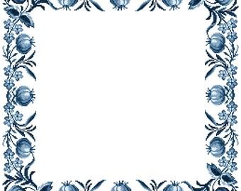 True blue - cross stitch pattern. Instant download PDF