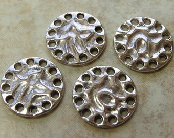 22mm Antique Silver Base Metal Earring Components, Links or Pendants - Qty 4 (G177)