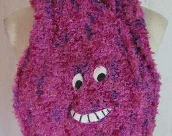 Cheshire Cat Alice in Wonderland hand knit silk scarf OOAK