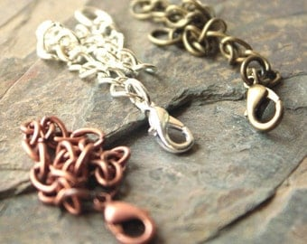 """4"""" Necklace Extender chain, Extension chains for necklaces 4"""" inch, copper, brass and silver plated THREE chains SF17"""